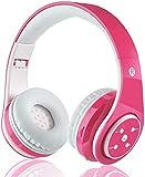 Kabellose Bluetooth Kopfhörer für Kinder Jugendliche ab 5 Kabelloser Kopfhörer Over Ear mit Lautstärkebegrenzung inkl. Radio on Ear drahtloser Faltbarer Kopfhörer mit Mikrofon HiFi Stereo (Pink)