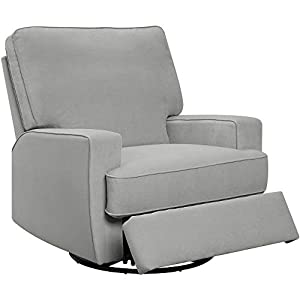 Gliding Chair Recliner Swivel Glider for Nursery Swivel Armrest Relaxation Padded Leg Rest Modern Indoor Comfy Contemporary Comfortable Bedroom Upholstery Furniture Gray & eBook by NAKSHOP