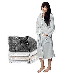 Twinzen Bademantel Damen - XS - Grau - 100% Baumwolle (350g/m²) Oeko-TEX® Zertifiziert - Bademantel mit Kapuze, 2 Taschen, Gürtel