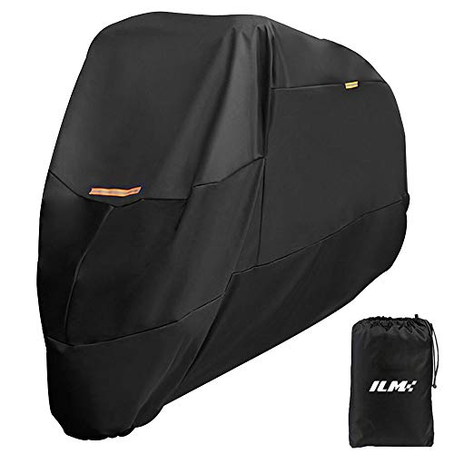 ILM Motorcycle Cover Heavy Duty 210D Oxford Waterproof XXXL Fit for Harleys Davidson Honda Suzuki 210D Black