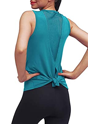Mippo Workout Tops for Women Yoga Tops Tie Back Workout Tennis Hiking Yoga Shirts Athletic Exercise Racerback Tank Tops Loose Fit Muscle Tank Exercise Gym Running Tops for Women Blue Green S