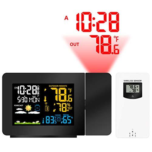 Projektions-Wecker-Wetterstation mit Wetter-Monitor, Personal Wetterstation mit Außensensor, 3 Alarme LCD-Anzeige Temperatur-Feuchtigkeits