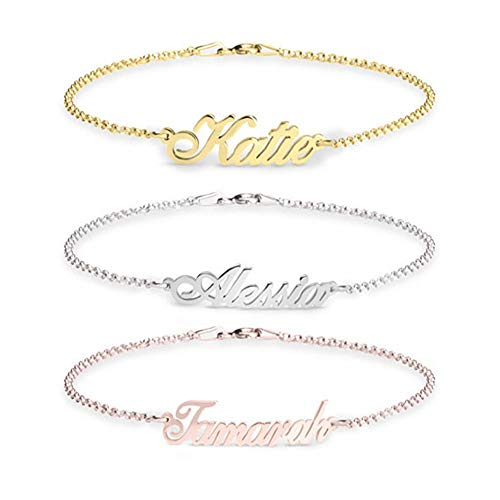 Personalized Name Bar Bracelet with Any Name Custom Engraved Inspirational Cuff Bracelet for Women Anklet Charm Gift for Her Jewelry for Women