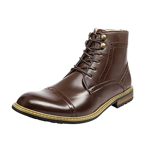 Bruno Marc Men's Bergen-03 Dark Brown Leather Lined Oxfords Dress Ankle Boots Size 7.5 M US