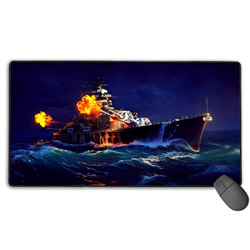 World of Warships Game Mousepad Non-Slip Rubber Electronic Sports Oversized Large Gaming Mouse Mat, Rectangular Mouse Pads 15.7 x 29.5 inch (40 x 75 cm)