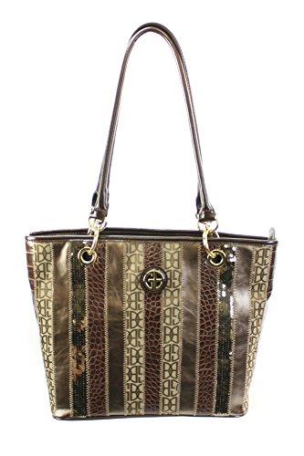 Giani Bernini New Brown Multi Annabelle Patchwork Tote Bag Osfa $189 DBFL