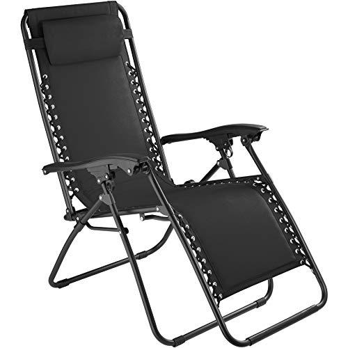 TecTake 800583 Chaise Longue Toile Tendue, Pliable, avec Rembourrage de Tête Amovible, Charge Max: 120 kg - diverses Couleurs - (Noir | n° 402927)