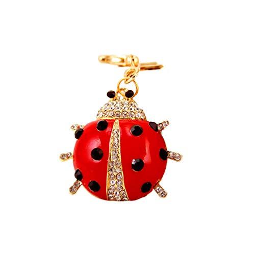 Garneck Ladybug Keychain Rhinestone Beetle Key Ring Hanging Key Holder Car Bag Pendant Charms Ornament for Birthday Valentines Day Gift