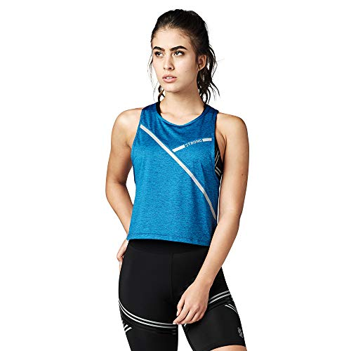 Strong iD Aktiv Slim Workout Sporttop Damen Athletic Stilvoll Fitness Tank Top, Blue A, Small