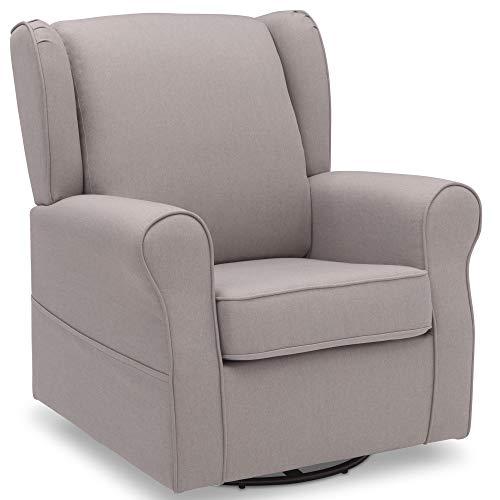 Delta Children Reston Nursery Glider Swivel Rocker Chair, French Grey