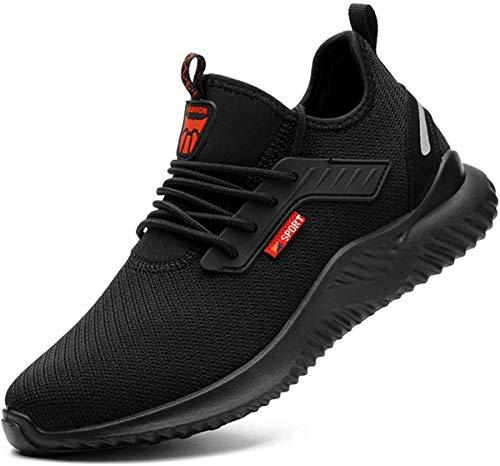 [tqgold] 安全靴 スニーカー 作業靴 メンズ レディース ハイカット ブーツ 鋼先芯 KEVLARミッドソール 軽量 通気性 防滑 耐摩耗 クッション性 おしゃれ 男女兼用 大きいサイズ (ブラック 28.5cm)