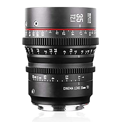 Meike 35mm T2.1 S35 Manual Focus Wide Angle Prime Mini Cinema Lens for Canon EF Mount and Cine Camcorder EOS C100 Mark II, EOS C200, EOS 3100 Mark II, EOS C100 Mark III, EOS C700 from HKmeike