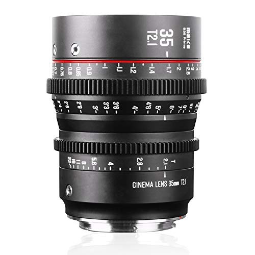 Meike 35mm T2.1 S35 Manual Focus Wide Angle Prime Cinema Lens for Canon EF Mount and Cine Camcorder EOS C100 Mark II, EOS C200, EOS 300 Mark II, EOS C300 Mark III, Zcam E2-S6 6K