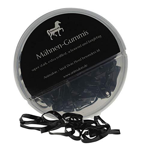 Animalon Mähnengummis schwarz aus Silikon | Einflechtgummis für Pferde Frisuren | schonendes Einflechten mit reißfesten Mähnengummis | ideales Tunier Zubehör für Pferde