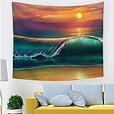 Tapiz de pared Tapiz de olas hawaianas Mar y sol brillantes,...