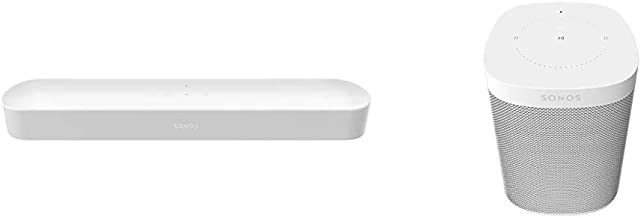Sonos Beam - Smart TV Sound Bar with Amazon Alexa Built-in - White & One (Gen 2) - Voice Controlled Smart Speaker with Ama...