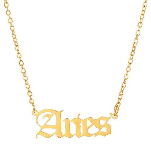 PicZhiwenture Halskette Anhänger Schlüssel beinkette Kette Brief Halskette Jungfrau Skorpion Schütze Steinbock Fische Widder Stier Zwillinge Altes Englisch -Gold_Aries