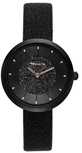 Tamaris, Bea, DAU 34mm, schwarz, ZB schwarz, Lederarmband Glitzer schwarz