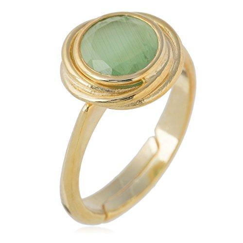 Córdoba Jewels | Anillo en Plata de Ley 925 bañada en Oro. Diseño Nudo Esmeralda Oro
