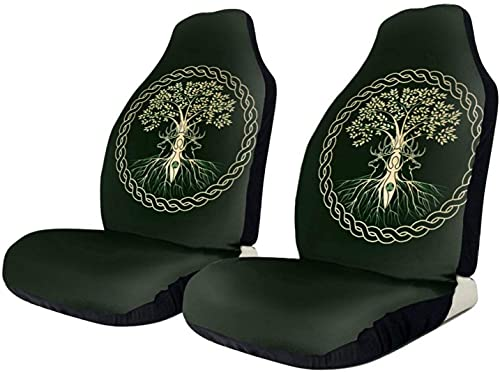 2 PCS Car Seat Covers, Celtic Ritual Norse Nordic Viking Goddess Wiccan Wicca Vehicle Front Seat Protector Car Front Seat Covers Universal Fit Most Car SUV Van Truck, Auto Accessories Car Decorative