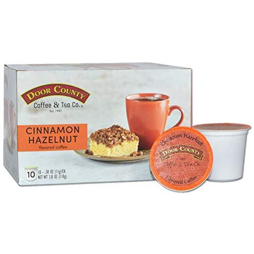 Door County Coffee, Single Serve Cups for Keurig Brewers, Cinnamon & Hazelnut Flavored Coffee, Medium Roast, Ground Coffee, 10 Count