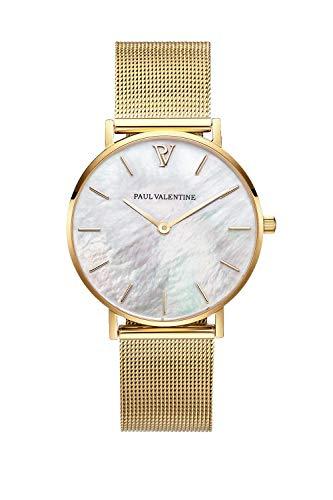Paul Valentine - Damenuhr - Gold Seashell Mesh - 38 mm Armbanduhr mit schönem Ziffernblatt aus Perlmutt, kratzfestes Glas, Mesh-Armband, Uhr für Damen