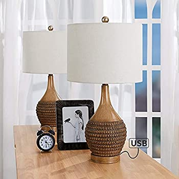 Maxax Table Lamps Set of 2 USB Bedside Lamps for Living Room and Bedroom,Wooden Finish