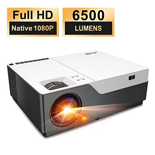 Proyector 6500 Lúmenes Full HD 1080P Nativo-Artlii Stone Proyector Cine en Casa de 300' Soporta 4K, Remote Learning,Compatible con USB/HDMI/SD/AV/VGA