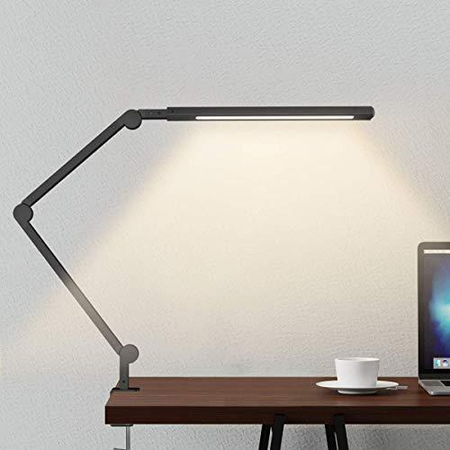VOVOVO Schreibtischlampe LED Tischleuchte Verstellbare Leselampe,Arbeitsleuchte mit Metallschaukel Arm,6-Farben-Modi Bürolampe mit Klemme, Dimmbare Helligkeit mit Taste Architektenlampe