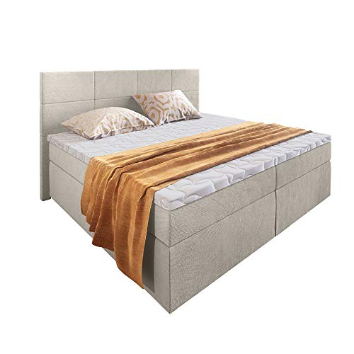 Selsey Sonic - Polsterbett/Doppelbett in Beige Boxspringbett-Look mit Taschenfederkernmatratze Topper Bettkasten (180x200 cm)