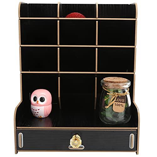 Organizador de escritorio de madera, estructura estable del cajón del organizador de escritorio con manija para el hogar para Material de oficina accesorio para estudiantes(30*27*4cm-black, blue)