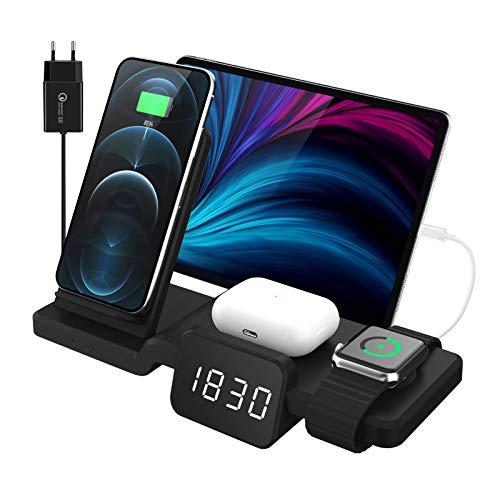 Decdeal Cargador inalámbrico 3 en 1 con adaptador, cargador inalámbrico apto para iPhone 12/1/XS/XR/X/8 Samsung Galaxy, AirPods 2/Pro, iWatch 6/5/4/3/2/1/SE