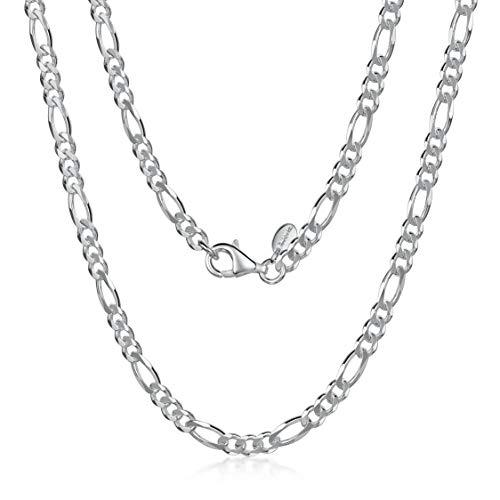 Amberta 925 Sterling Silber Halskette für Herren - Rhodiniert - Flache Figarokette3.9 mm – 70 cm