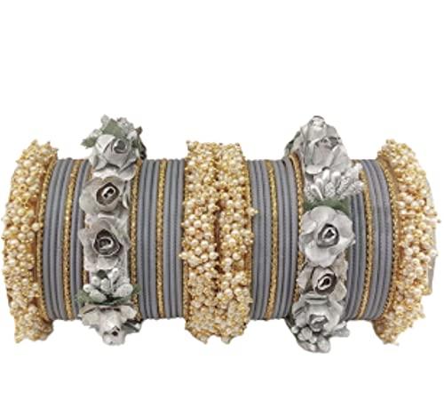 Juego de pulseras con base de plástico acrílico KUNDAN con amor y aspecto bueno en cualquier mujer, tamaño: 2.8, color: gris