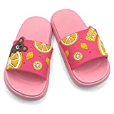 Wisdoor Girls Boys Slide Sandals Kids Summer Shower Shoes Non-Slip Cute Bath Slippers for Beach Pool Indoor Pink 11 Size