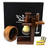 Grooming Shaving Set For Men, Double-sided Safety Razor, Pure synthetic Hair Brush wood Handle, Wood Shaving Bowl And Shaving Stand Kit, Best Gift For Gentleman