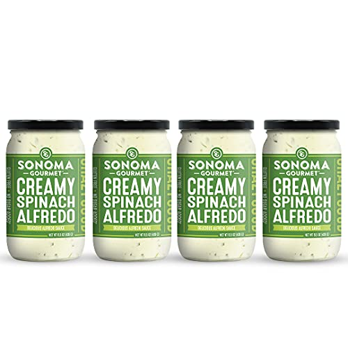 Sonoma Gourmet Spinach Alfredo Pasta Sauce   Gluten-Free and No Sugar Added   Made With Real Cream   15.5 Ounce Jars (Pack of 4)