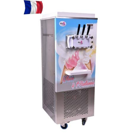 Machine à glace sur roulettes triphasé - 2 parfums + 1 mixte - Gris -