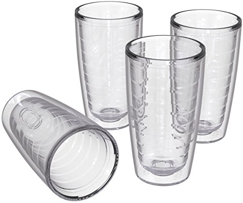 4-pack Insulated Tumblers 16 Ounce - BPA-Free - Made in USA - Clear (16oz Insulated Cups)