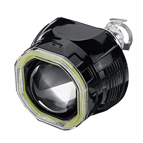 Vbaxy 2.5 IncN LED Halo Fightlights Halo Anillo Luces Lámpara LED LED Ángel Ojos Halo Faro Día Día Luces DRL HID Xenon Proyector Lens Kit Plaza Compatible para RHD Car Luces de señal (Color : Black)