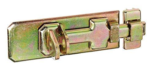 GAH-Alberts 123055 Sicherheits-Schlossriegel mit flachem Griff, mit befestigter Schlaufe, galvanisch gelb verzinkt, 80 x 35 mm