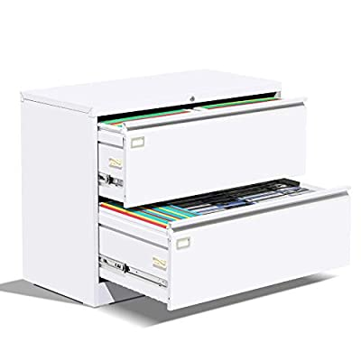 White 2 Drawer Lateral File Cabinet with Lock Metal Lateral Filing Cabinet for Legal/Letter A4 Size, Locking Wide File Cabinet with Drawers 4 Adjustable Hanging Rails for Home Office