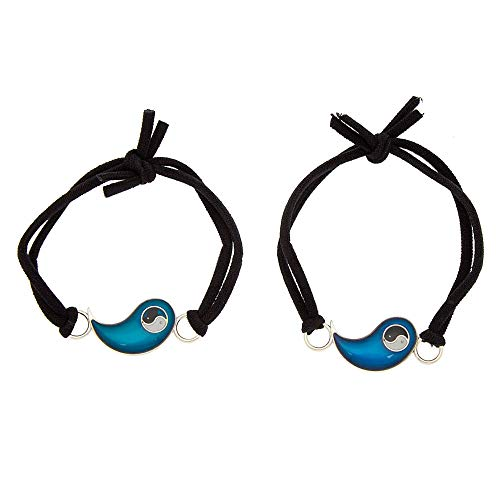 Claire's Matching Yin Yang Mood Best Friends Adjustable Bracelets, Black, Stretch Fit, Set of 2
