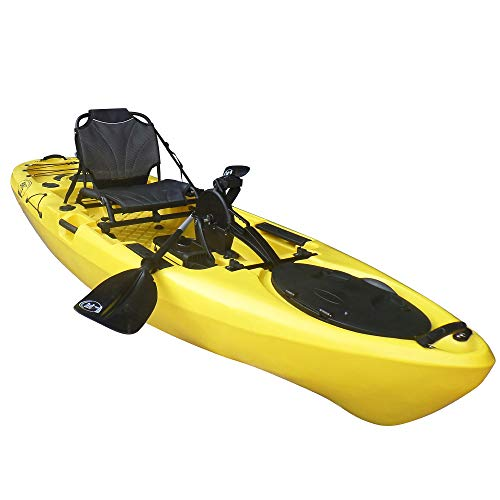 BKC PK11 Angler 10.6' Solo Sit-On-Top Fishing Kayak, Propeller-Driven w/Instant Reverse Pedal Drive, Rudder System, Paddle, and Upright Aluminum Frame Backrest Support Seat (Yellow)