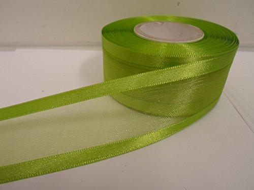 Beautiful Ribbon 2 mètres x 40 mm 4cm Satin bordé Ruban d'organza Pomme Vert Vif Recto-Verso faveurs Mariage Pâques Noël Artisanat 40 mm