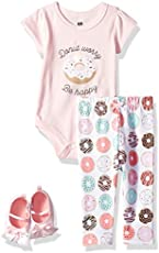 Hudson Baby Unisex Baby Cotton Bodysuit, Pant and Shoe Set, Donut Worry, 12-18 Months