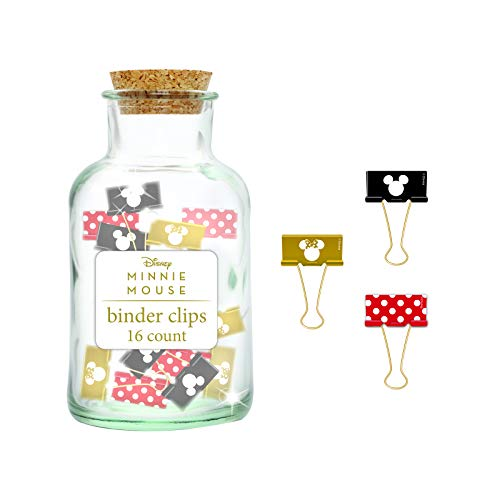 Disney Minnie Mouse Binder Clips in a Corked top Jar