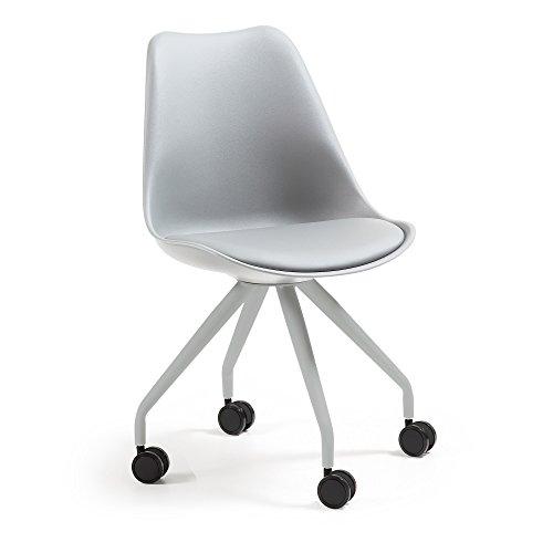Kave Home - Chaise de Bureau Ralf Gris en polyuréthane et Pieds en Acier Gris avec roulettes
