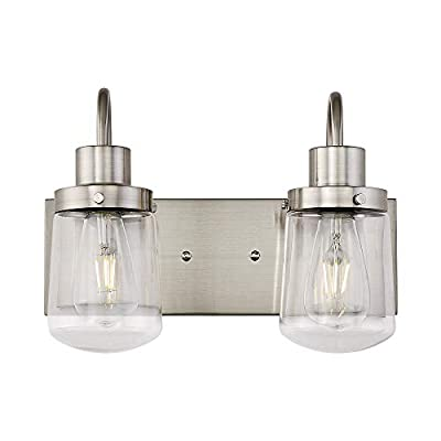 YAOHONG 2-Lights Wall Light/Bathroom Vanity Light, Industrial Wall Sconce in Satin Nickel with Clear Glass Shades Wall Mount Light Fixtures for Living Room Bathroom Kitchen