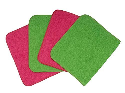 Ti TIN - Pack de 4 Toallas de Guardería Rizo Toalla 90% Algodón - 10% Poliéster, 29x50 cm, Colores Rosa y Verde